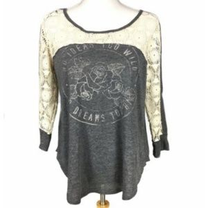 Hollister Large Top Lace Cotton Shirt Graphic Tee